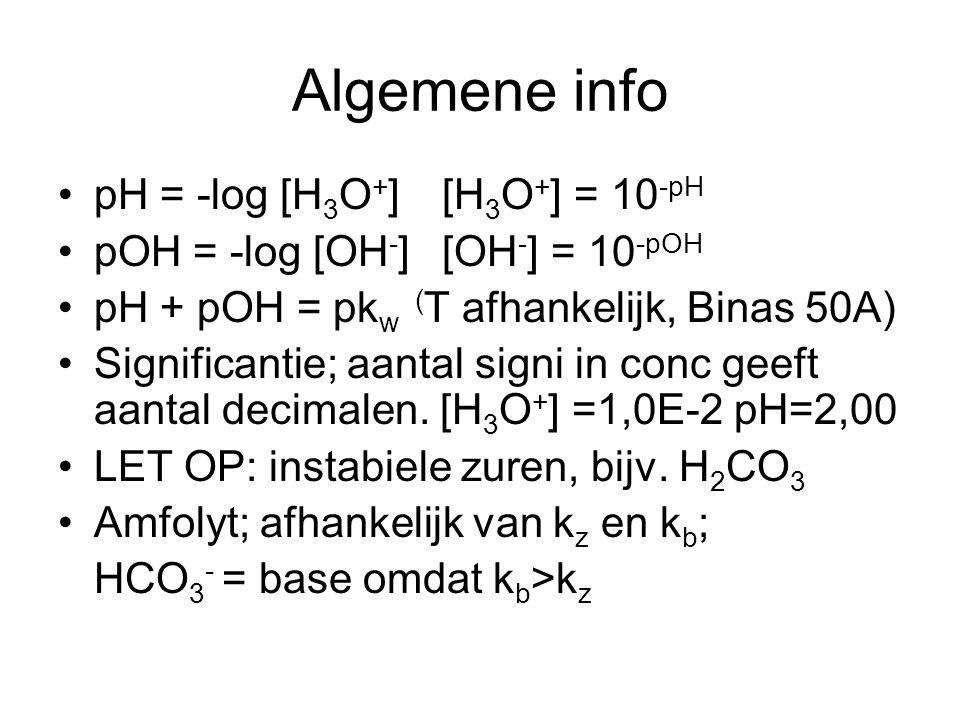 Algemene info pH = -log [H3O+] [H3O+] = 10-pH